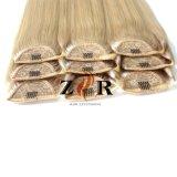 ドローストリングの人間の毛髪のポニーテールの100%のインド人のRemyクリップ