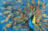 ホーム装飾のためのハンドメイドの青い孔雀の油絵