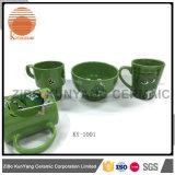 Mars mm caneca de decalque verde com conjunto de tigela