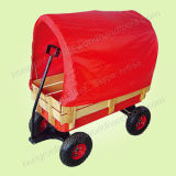 Vagão de madeira vermelho para bebê com dossel