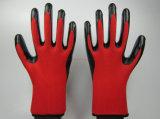 Luvas de segurança protetora de laboratório de poliéster de nitrilo revestido (NS004)