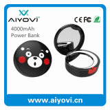 4000mAh Round Cartoon Design Mirror Power Bank avec miroir à éclairage LED