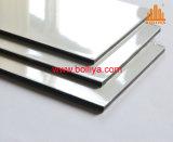 El panel compuesto de aluminio revestido de capa echado a un lado doble ACP de Acm del PE del negro dos blancos brillantes de Matt
