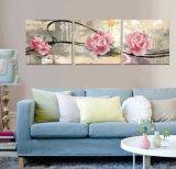 3 لون جدار فنية [أيل بينتينغ] لون قرنفل يطبع زهرات يدهن بينيّة زخرفة نوع خيش صورة لأنّ يعيش غرفة [مك-253]