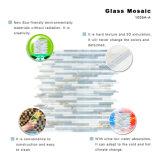 Weiße und graue Farben-Blatt Backsplash Wand-rechteckige kleine Glasmosaik-Fliesen