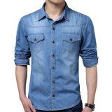 Jeans casuali rivestimento di modo del cotone degli uomini & camice dei jeans del vestito