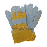 Желтый коровы Split кожа безопасности рабочие перчатки
