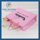 Promozione Paper Bag Pink Matt Surface Black Printing con Logo (CMG-MAY-038)