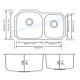Double bassin de cuisine de cuvette et bassin de certificat de Cupc (8653AL)