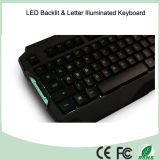 3 LED multicolor de luz de fondo teclado de la PC con ajuste de brillo