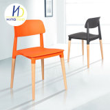 La réplica de Plástico PP Diseño Italiano de comedor silla con respaldo de las patas de madera