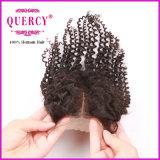 Chiusura riccia crespa del merletto della chiusura dei capelli umani 100 del commercio all'ingrosso di Afro basso di seta del visone
