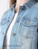 Las mujeres de alta calidad viste la chaqueta azul clara de la motocicleta del dril de algodón de la vendimia