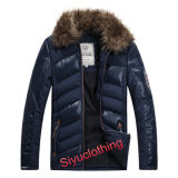 Men Leather Casual Fur Collar Warm Winter Design impermeável jaqueta PU (J-1618)