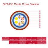 2-144 os núcleos afrouxam o cabo ótico blindado GYTA33 de fio de aço do tubo