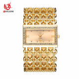 De nieuwe Gouden Horloges #V356 van de Armband van de Ketting van het Staal van het Geval van de Rechthoek van de Diamant van het Kristal van de Luxe van het Kwarts van de Kleding van de Vrouwen van de Manier