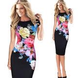 Alineada ocasional impresa floral de la oficina de la alineada de Bodycon de la túnica de la flor del verano de las mujeres