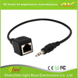 Estéreo de 3.5mm enchufe macho a hembra RJ45 Cable Adaptador Ethernet