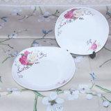 Plaque en céramique blanche de vente en gros de vaisselle de Chine Rose d'os