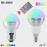 Lámpara teledirigida mágica del bulbo de los colores E27 E14 LED RGB del RGB Lighting+IR del día de fiesta de Dimmable de la luz del punto de AC110V 220V 5W LED RGB 16