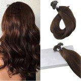 Estensione #4 color cioccolato dei capelli umani di Remy della cheratina di punta di U