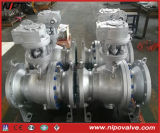 API 6D Cast Steel Flanged Tourillon Ball Valve avec engrenage