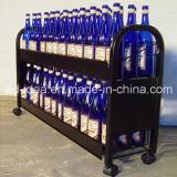 Vin Présentoir en métal pivotante/ Présentoir en métal pratique avec la roulette