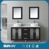 Mobília de madeira contínua moderna do banheiro do estilo de América com dissipador