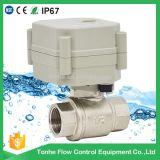 2 robinet à tournant sphérique électrique motorisé par laiton nickelé de l'eau de la voie Dn15
