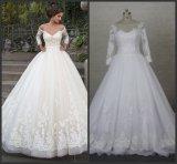 標準的で白い花嫁衣装3/4着の袖のAラインのオーガンザのレースのウェディングドレスSw01