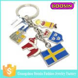 Suporte promocional por atacado Cheap Fashion Custom Metal Flag Keychain