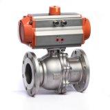 Type contrôlé pneumatique robinet de bride de corps d'acier inoxydable à tournant sphérique