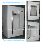 Piscina em sacos de gelo da Gaveta de gelo no congelador com porta de vidro