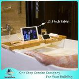 대나무 제조자 최신 인기 상품 자연적인 색깔 포도주 잔 홀더를 가진 목욕탕을%s 대나무 목욕 Caddy