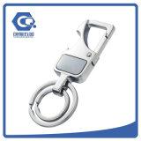 Boa corrente chave personalizada Quatity de anel dobro do metal com logotipo do Imprint