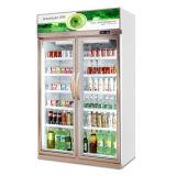 Resistente Pantalla comercial vertical refrigerador, folleto de enfriador de bebidas nevera