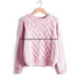 Femmeの秋の冬の女性のセーターおよびプルオーバーの格子縞の厚い編むモヘアのセーターの女性の緩い雑色を引っ張りなさい