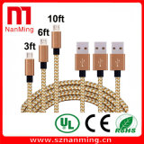 Micro к кабелю данным по Sync кабеля USB Nylon Braided поручая мужчина к микро- кабелю обязанности b