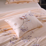 高貴な4PCS寝具は100%年の綿型の羽毛布団カバーセットをセットした