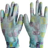 Печать цветов перчатки нейлоновые перчатки PU покрытием женщин сад перчатки