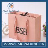 Поднял мешок золотистого розового подарка офсетной печати бумажный (CMG-MAY-017)