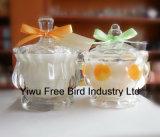 De hete Verkopende Decoratieve Goedkope Uitstekende Gebemerkte Kaars van het Glas