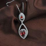 Conjunto cristalino de la joyería del Zirconia de la manera pendiente nupcial cúbica de rubíes del collar