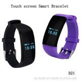Bracelet intelligent d'écran tactile avec le moniteur du rythme cardiaque (D21)