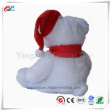 Bonitinha Natal urso de pelúcia sentado brinquedo com Xmas Hat e lenços de pescoço