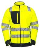 Alto Workwear giallo fluorescente del panno morbido di visibilità con il rivestimento riflettente