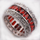 Het Kristal Zircon 925 van de kleur de Echte Zilveren In het groot KleinhandelsRing van Juwelen