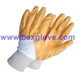 Вкладыш блокировки хлопка, покрытие нитрила, наполовину Coated перчатки безопасности