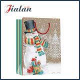 Brillante laminado recubierto de papel del muñeco de nieve de compras bolsa de papel de regalo