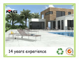 Aço inoxidável moderna piscina ao ar Espreguiçadeiras com braço de Teca